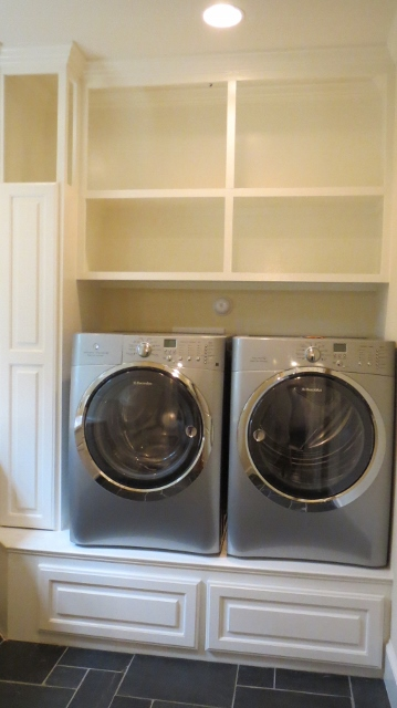 laundry room built in shelves